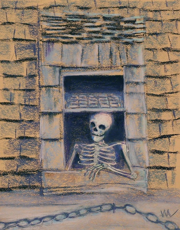 Pastel painting of a skeleton regarding children walking on the street below from the window of the Oldest Wooden Schoolhouse in St. Augustine, Florida.