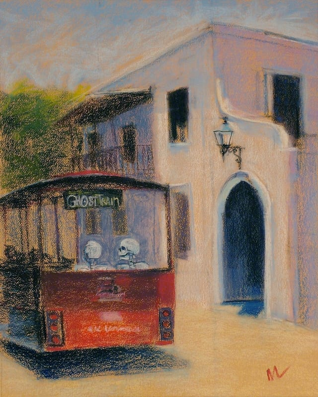 Pastel painting of a skeleton couple taking one of the popular Ghost Tour trolley rides through the streets of St. Augustine, Florida.