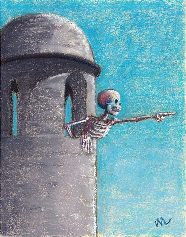 Pastel painting of a skeleton yelling at kids from the tower of the Castillo de San Marcos in St. Augustine, Florida.