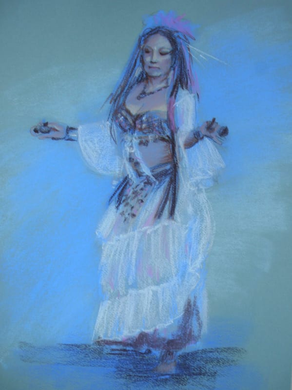 pastel painting of a belly dancer on paper
