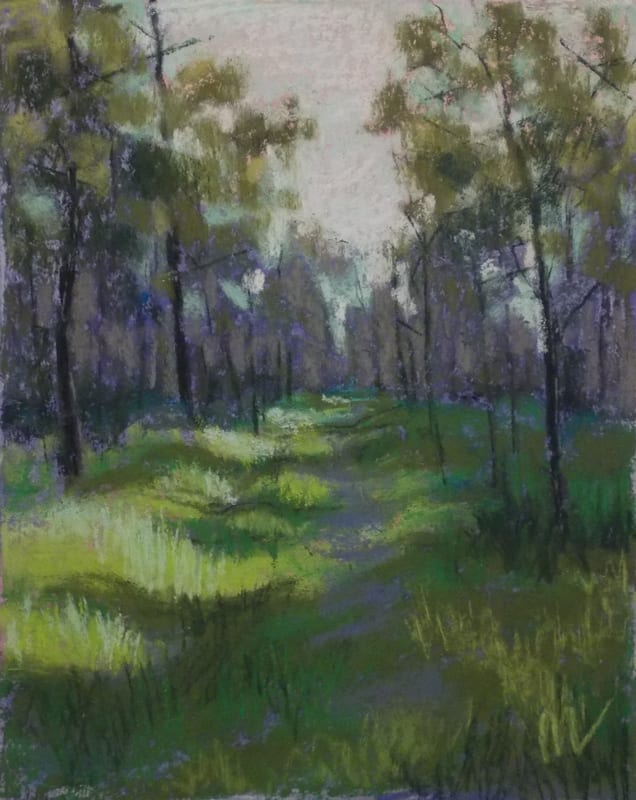pastel painting of a sunlit path through the Julington Durbin Preserve
