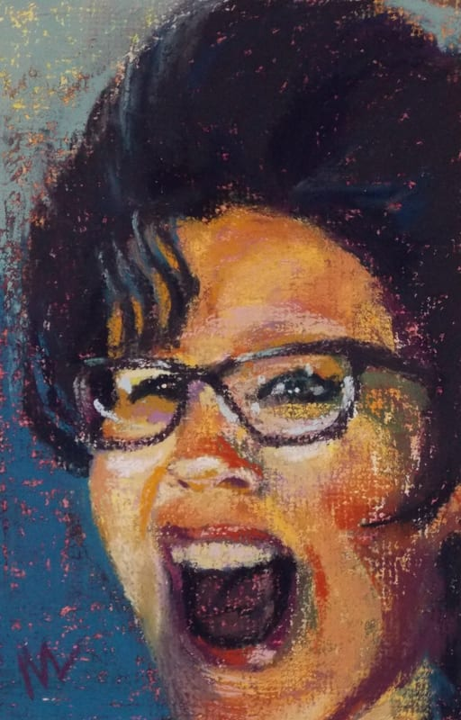 pastel painting of a woman's face, yelling