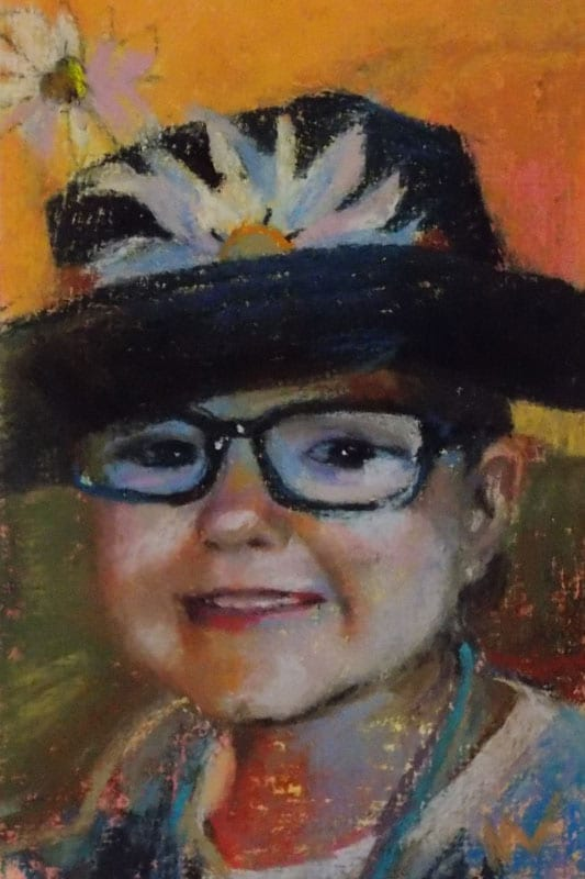 pastel painting of a little girl's face
