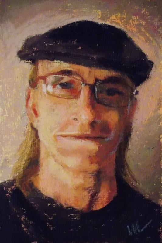 pastel painting of a man's face, wearing a hat