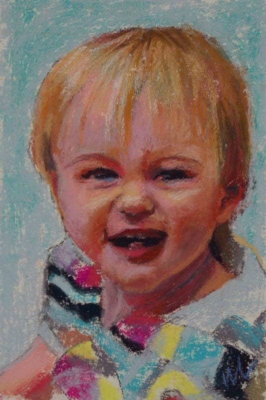 pastel painting of a laughing child