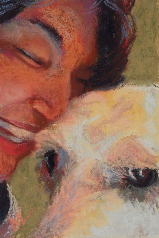 "Marie Marfia, Liz and Tomi, soft pastel on textured board, 9x6""."