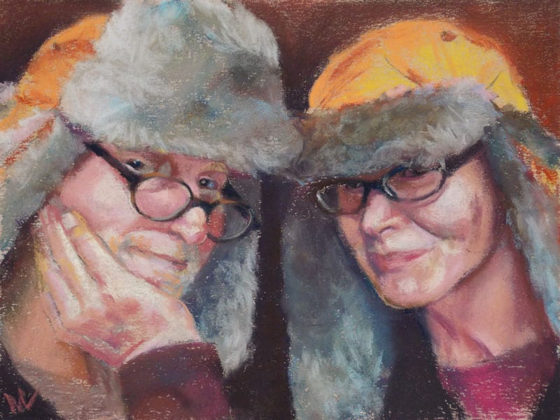 pastel portrait of a couple in flap hats
