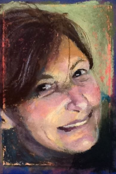 pastel painting of a woman's smiling face