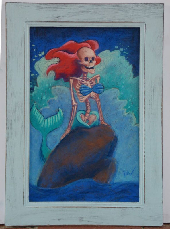 pastel painting of a red haired skeleton mermaid