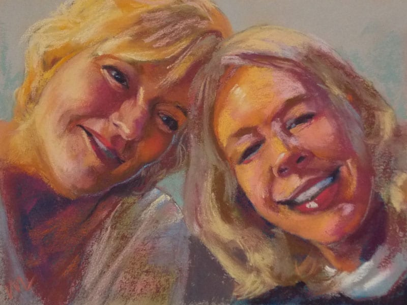 pastel portrait commission of two women, smiling