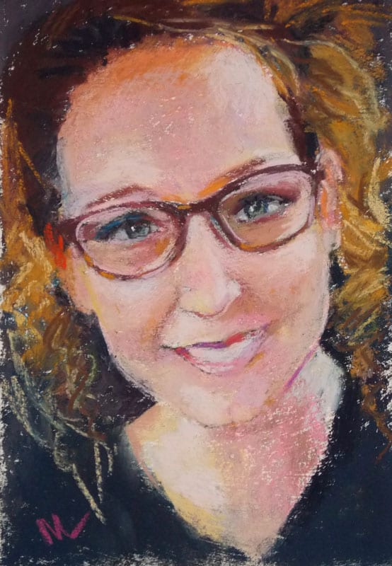 pastel painting of a woman's face