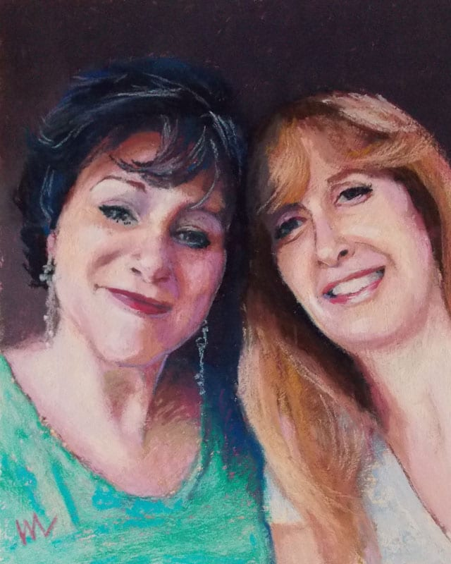 Pastel painting of two women friends