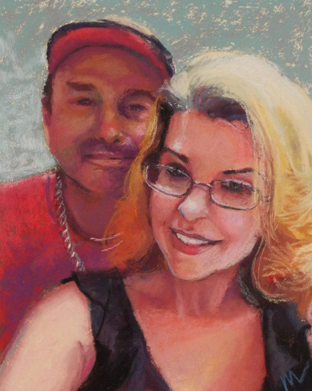 pastel painting of a man and his wife