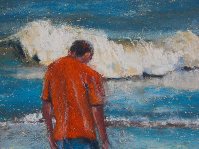 pastel painting of a man searching for shark teeth on the shoreline