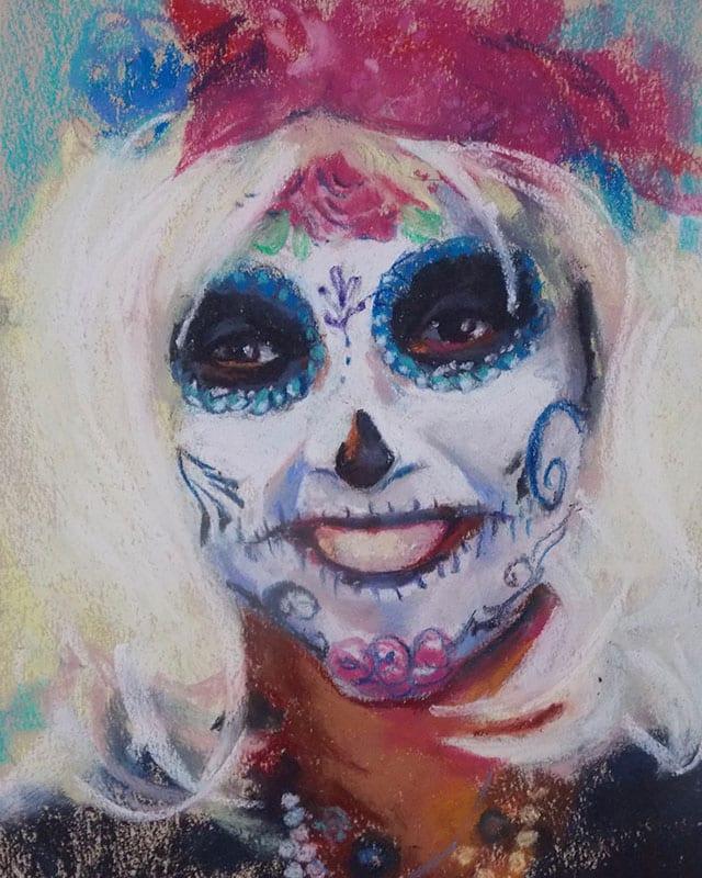 pastel portrait commission of a sugar skull face