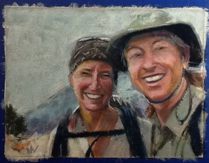 pastel portrait of two people hiking in the mountains