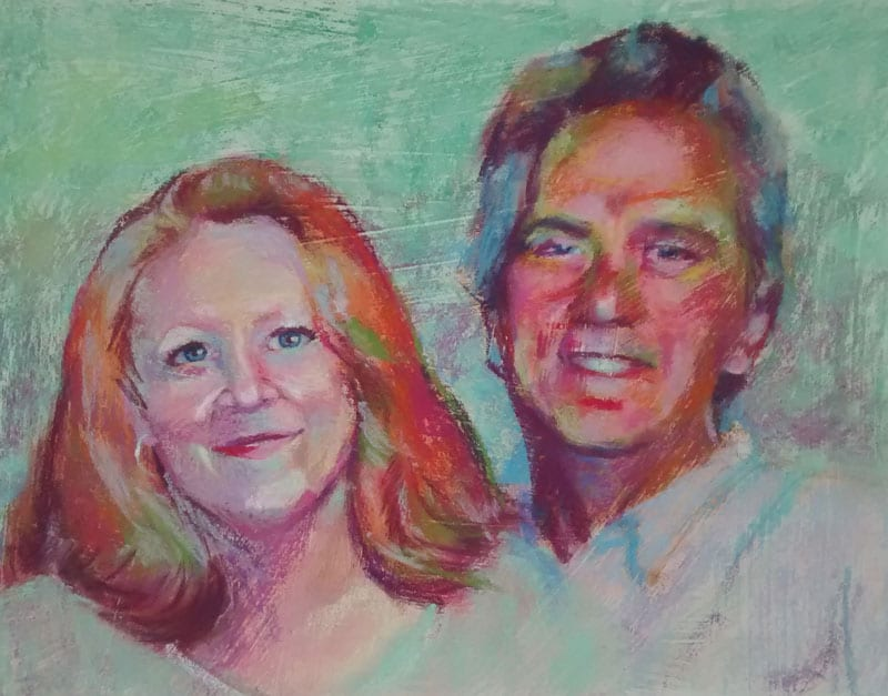 pastel portrait painting of a smiling couple