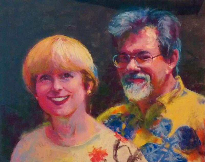 pastel portrait commission of a smiling couple