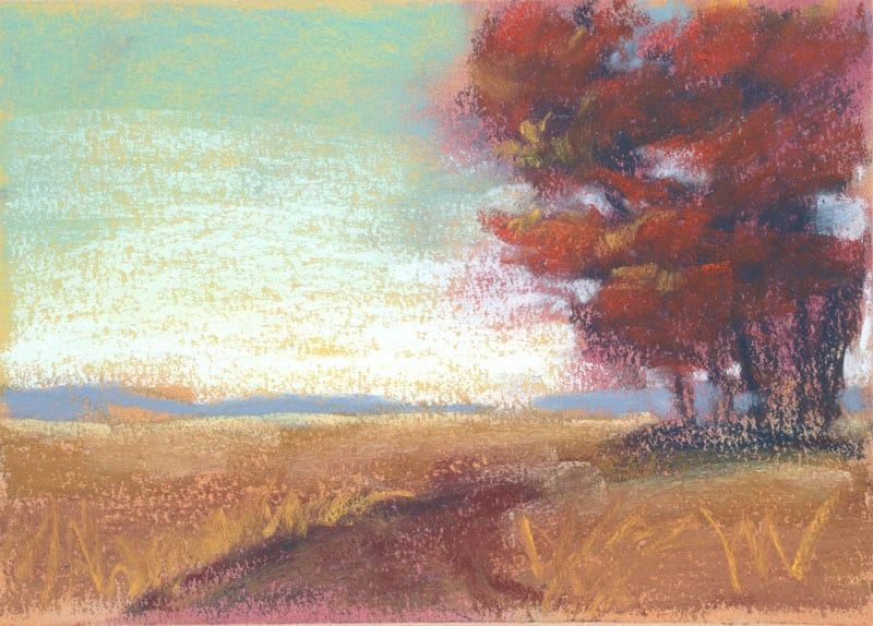 small pastel landscape of fall leaves