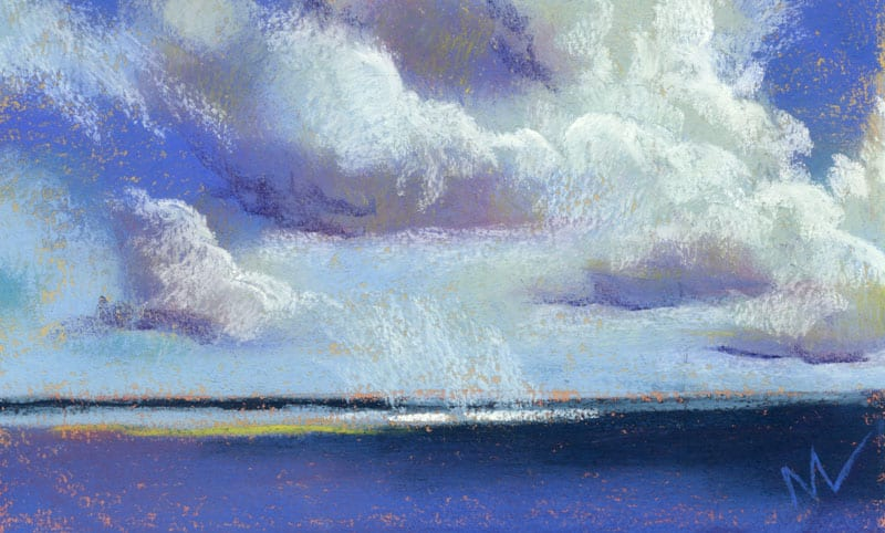 pastel painting of towering clouds over the ocean.