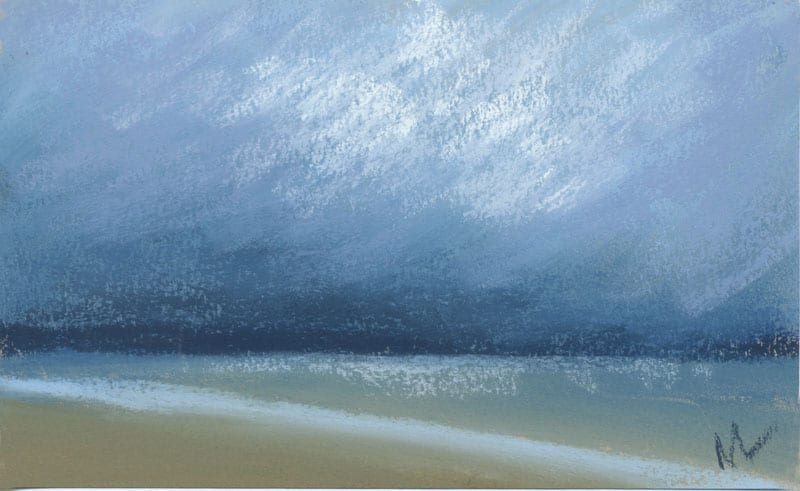 pastel study of dark clouds over the ocean