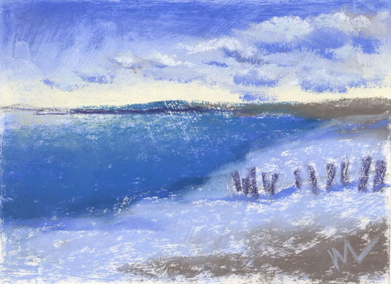 pastel landscape of Lake Michigan and the end of US-10