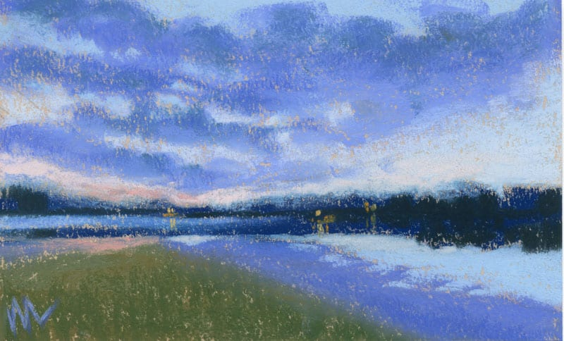 Pastel painting of a sunrise on a small lake