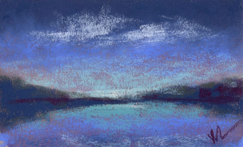 pastel of night clouds