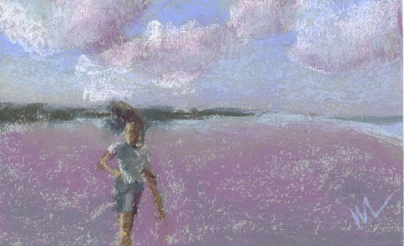 pastel study of a child running along the beach