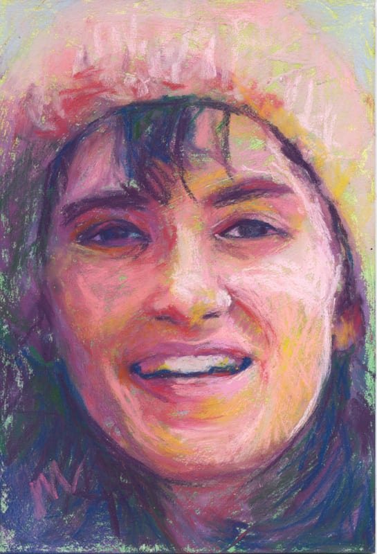 Pastel portrait of a young woman.