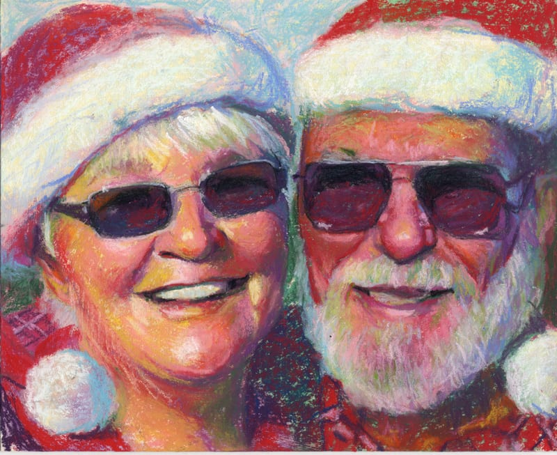 Pastel portrait of a couple in santa hats.