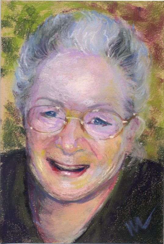 Pastel portrait of a smiling woman