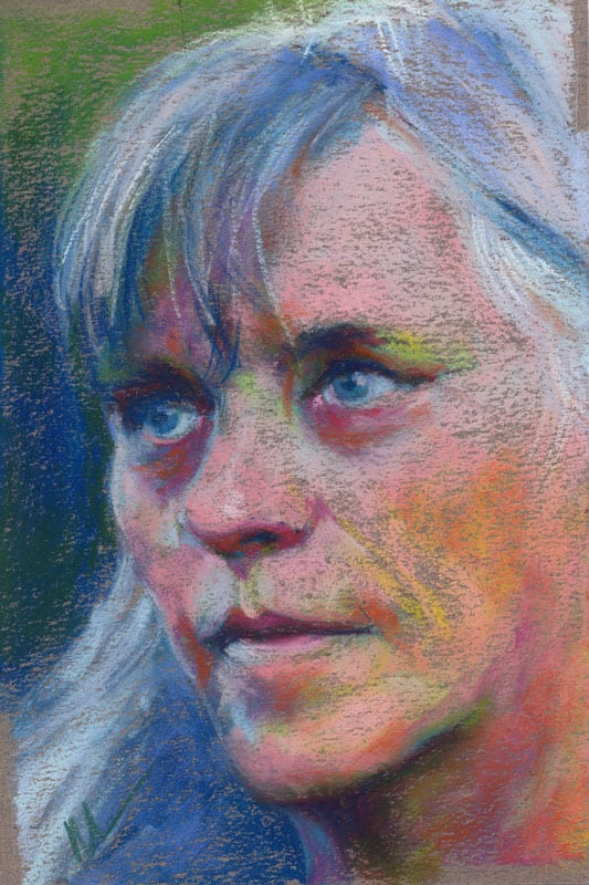 pastel portrait of a woman