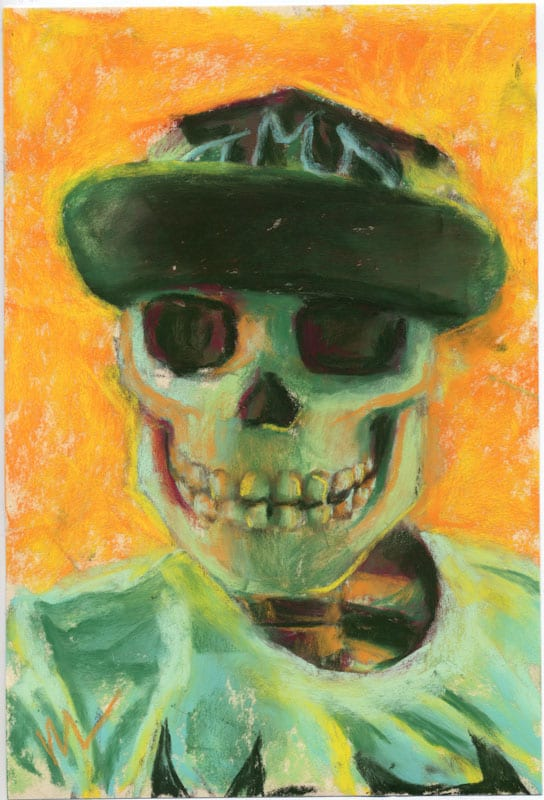 Pastel portrait of a skull with a batman hat
