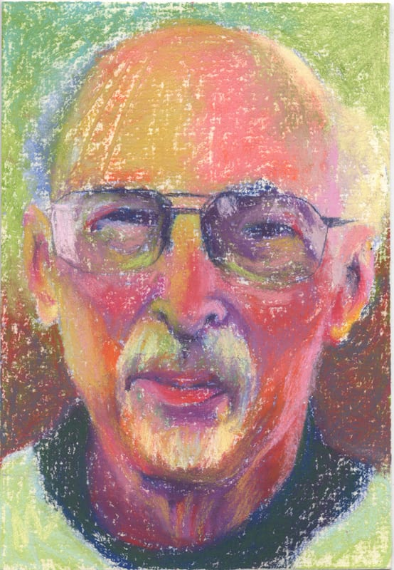 Pastel portrait of a man with a goatee