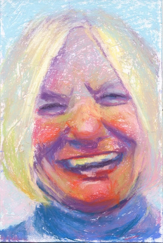 Pastel portrait of a smiling woman.