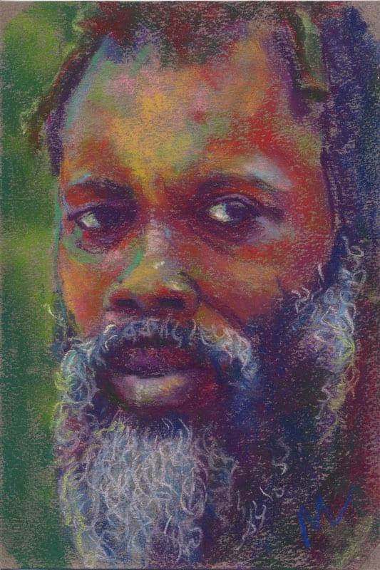 Rastafarian man pastel portrait