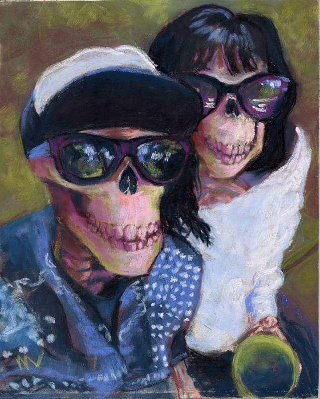 Pastel portrait of a skeleton couple in a park