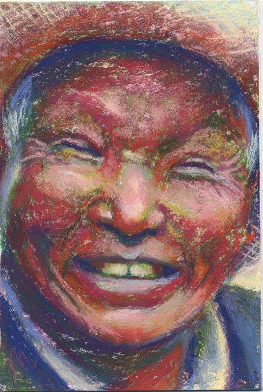 pastel portrait of a tibetan man