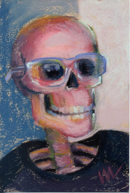 Pastel portrait of a skull with safety glasses on.