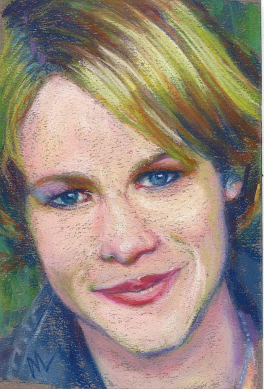 Pastel portrait of a young woman
