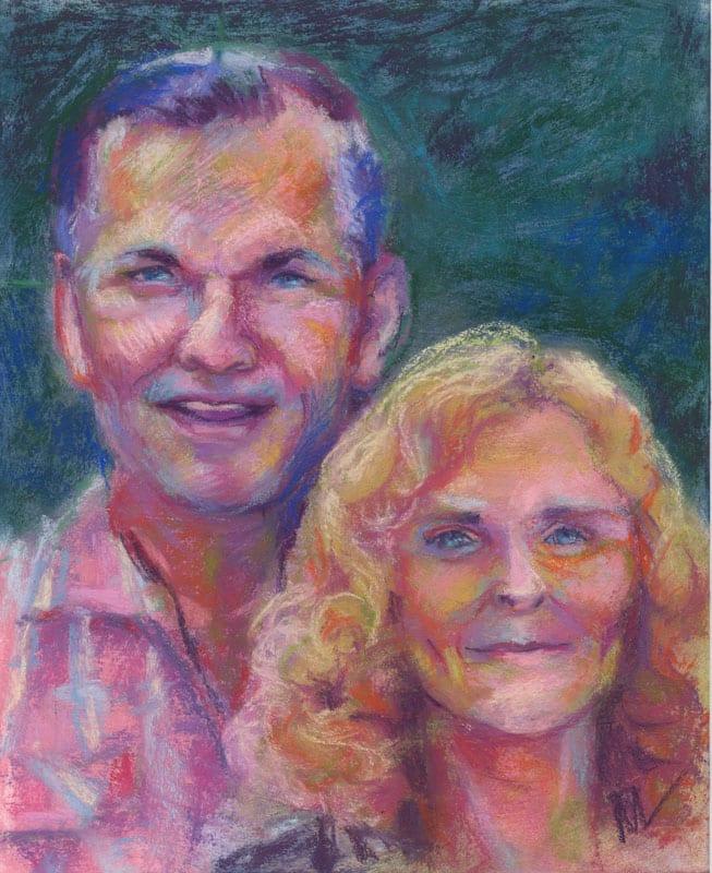 pastel portrait of a smiling couple