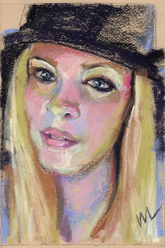 Pastel portrait of a blonde woman in a hat