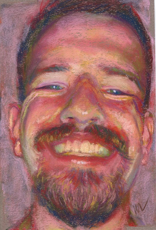 pastel portrait of a grinning man