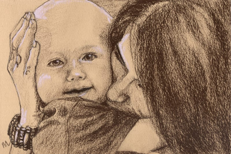 Pastel portrait of a woman and grandson