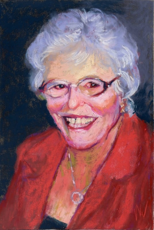 pastel painting of a smiling elderly woman