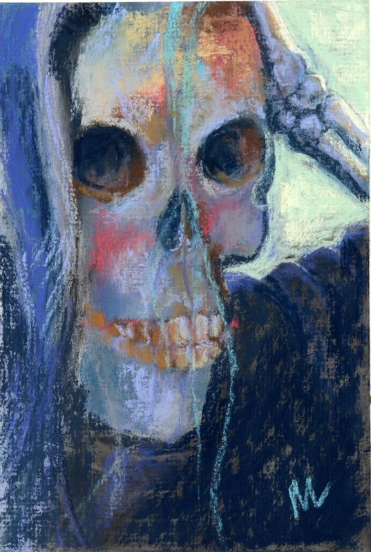 pastel of a skull portrait