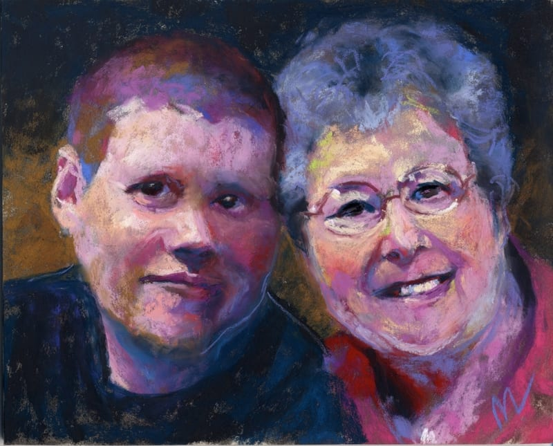 a pastel portrait of a woman and her grandson
