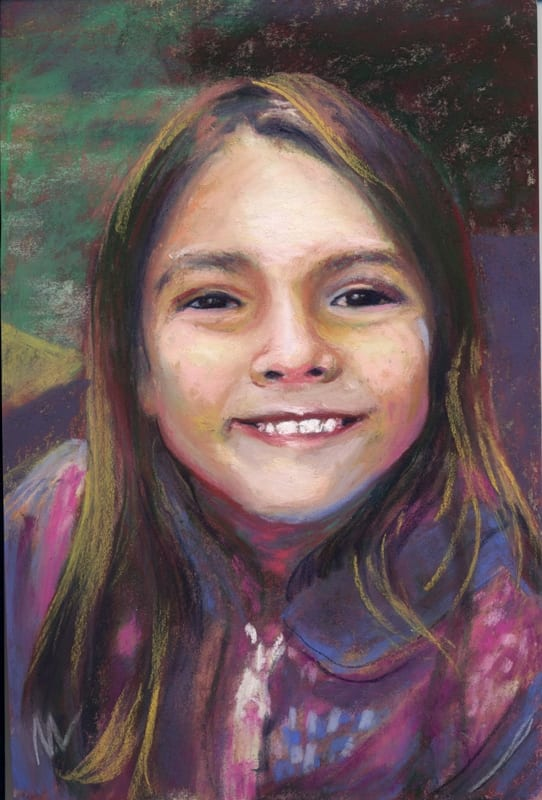 pastel painting of a young girl
