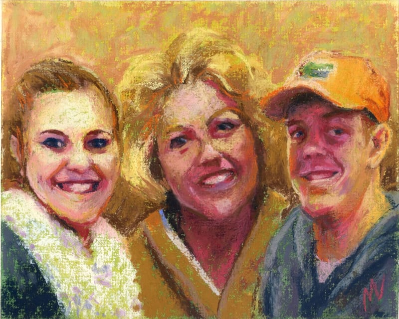 pastel portrait of family of three